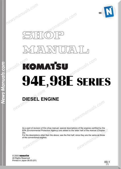 Komatsu 94E,98E Series Diesel Engine Shop Manual