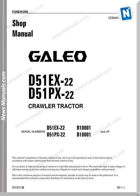 Komatsu Bulldozer D51Ex 22 D51Px 22 Shop Manual