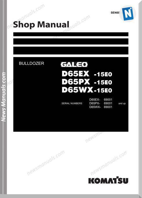 Komatsu Bulldozer D65 Ex Px Wx 15E0 Shop Manual