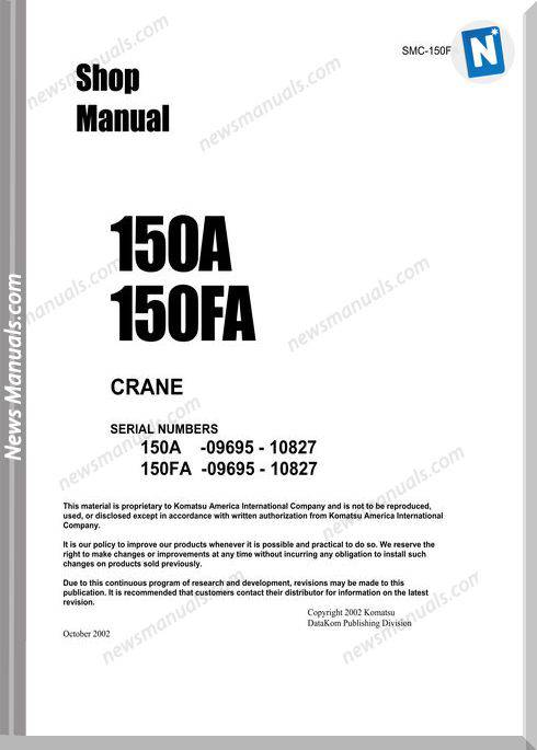 Komatsu Crane 150A 150Fa Shop Manual