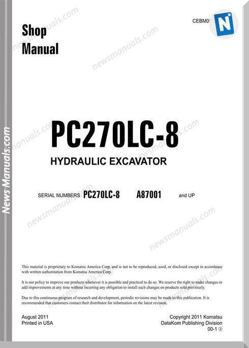 Komatsu Crawler Excavator Pc270Lc-8 Shop Manual