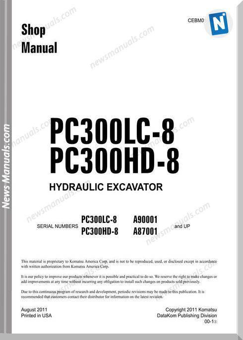Komatsu Crawler Excavator Pc300Hd-8 Shop Manual