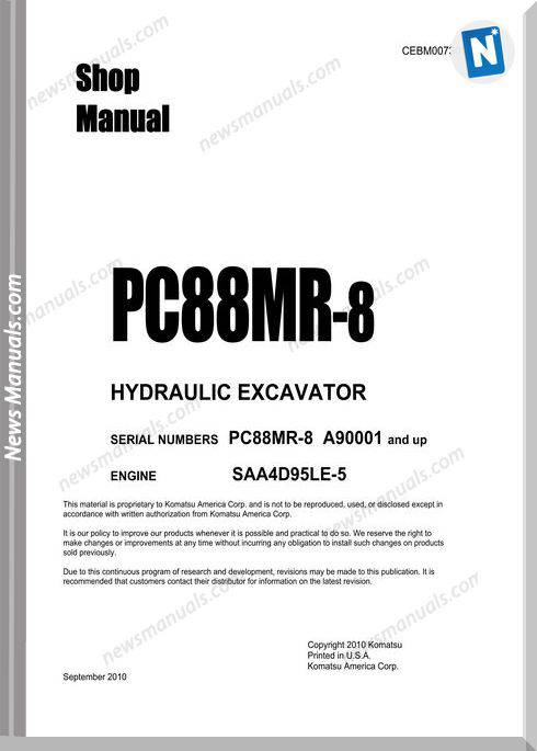 Komatsu Crawler Excavator Pc88Mr-8 A90001 Shop Manual
