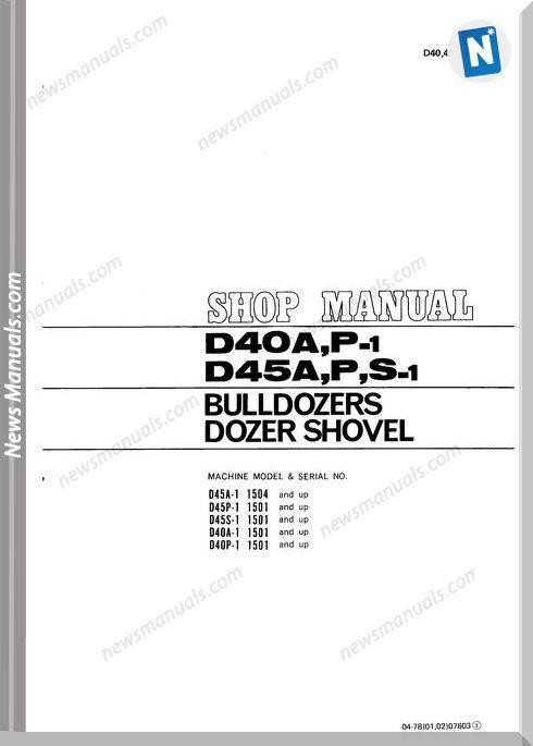 Komatsu Crawler Loader D45S-1 Shop Manual