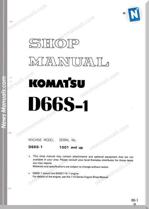 Komatsu Crawler Loader D66S-1 Shop Manual
