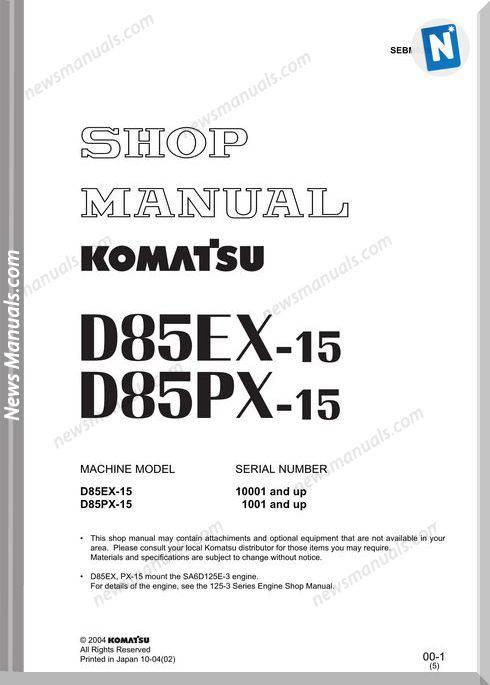 Komatsu D85Ex Px 15 Shop Manual