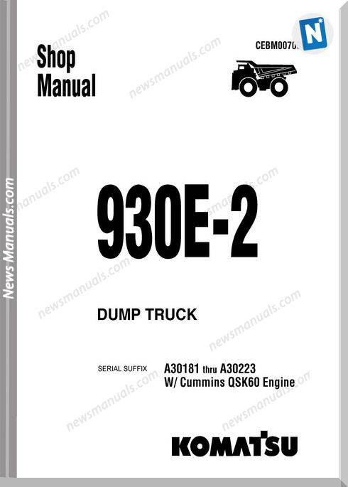 Komatsu Dump Truck 930E 2 Shop Manual