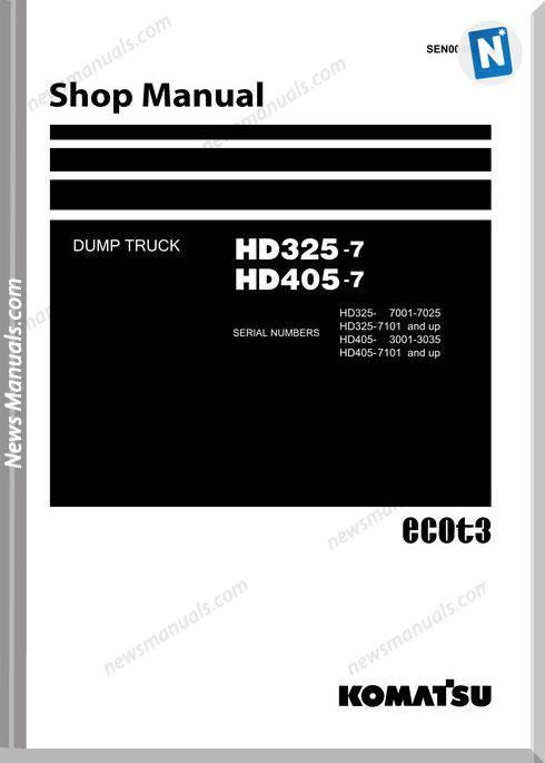 Komatsu Dump Truck Hd325 7 Hd405 7 Shop Manual Sen00486 12