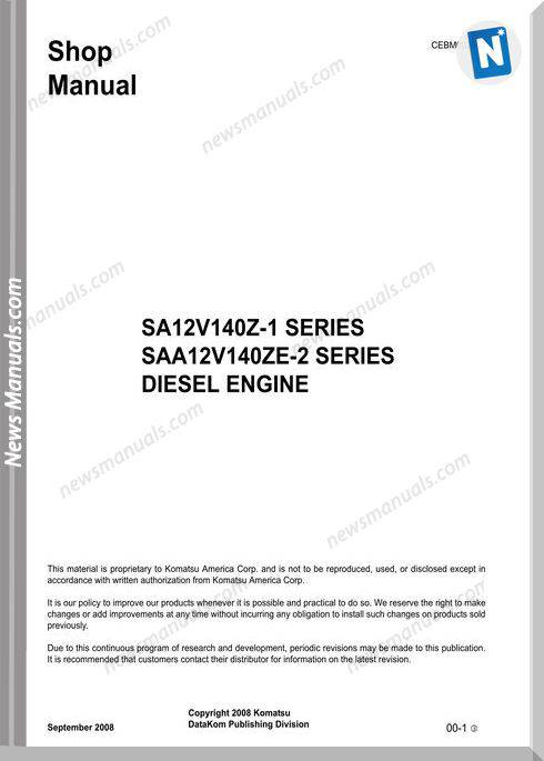 Komatsu Engine 12V140Z-1 Series Cebm002603 Shop Manual