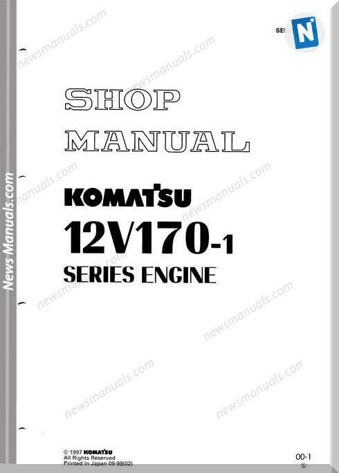 Komatsu Engine 12V170-1 Series Sebe61800105 Shop Manual