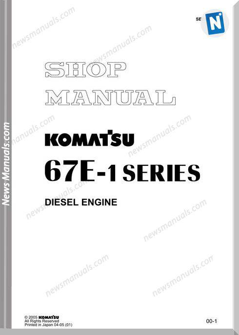 Komatsu Engine 3D67E-1 Shop Manuals