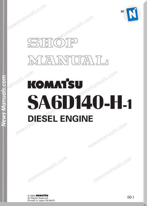 Komatsu Engine Sa6D140-H-1 Shop Manuals