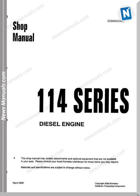 Komatsu Engine Saa6D114-1 Shop Manuals