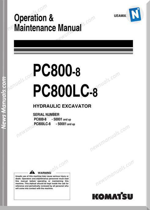 Komatsu Excavator Pc800 800lc 8 Om Maintenance Manual