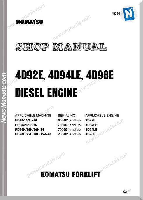 Komatsu Forklift 4D92E 4D94Le 4D98E Shop Manual
