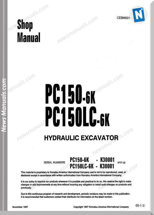 Komatsu Hydraulic Excavator Pc150 6K Shop Manual 1