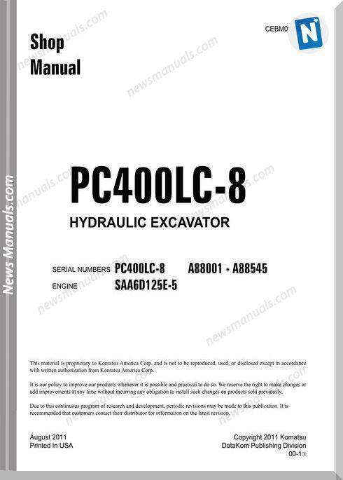 Komatsu Hydraulic Excavator Pc400 8 88888 Shop Manual