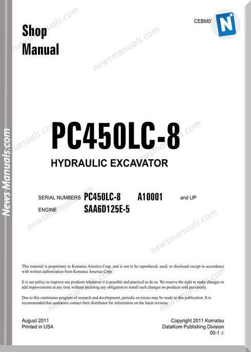 Komatsu Hydraulic Excavator Pc450 8 10001 Shop Manual