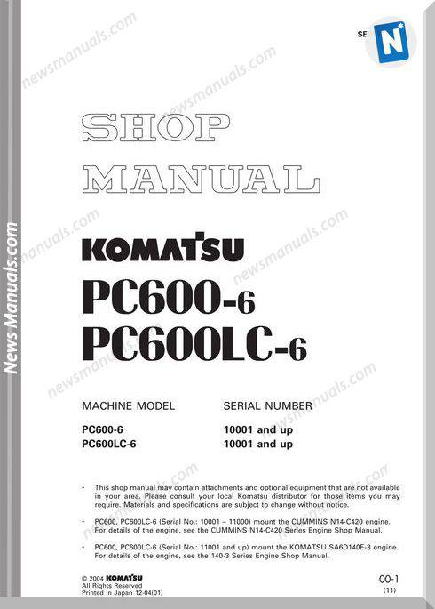 Komatsu Hydraulic Excavator Pc600 6 Shop Manual