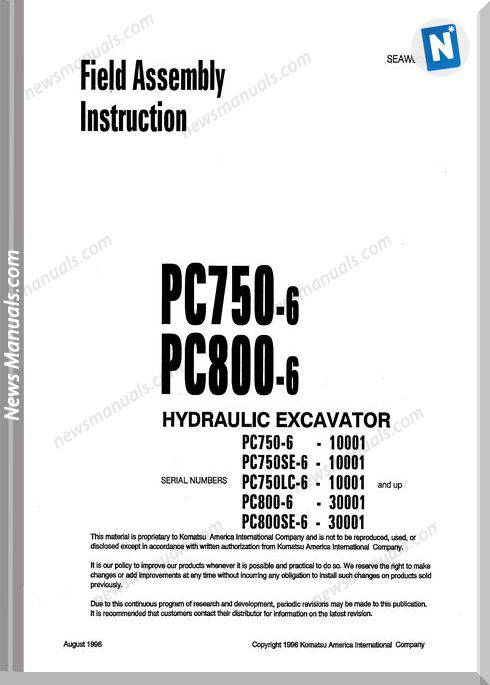 Komatsu Hydraulic Excavator Pc750 6 Shop Manual