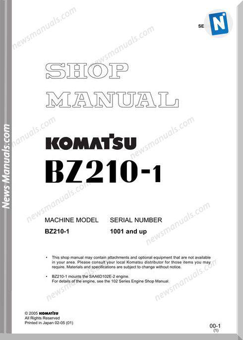 Komatsu Mobile Crushers Bz210-1 Shop Manual