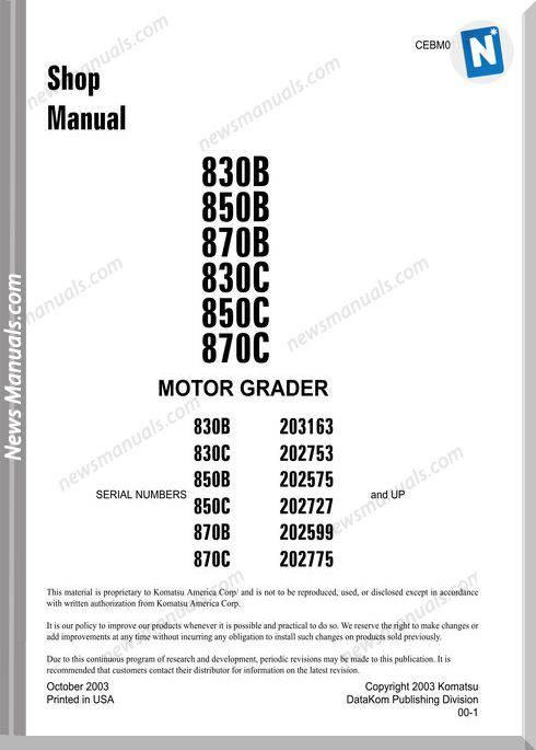 Komatsu Motor Grader 870C Shop Manual