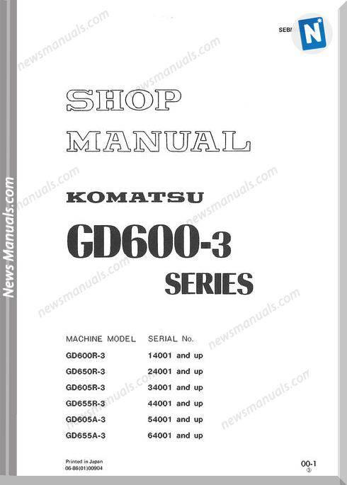 Komatsu Motor Grader Gd655R-3 Shop Manual