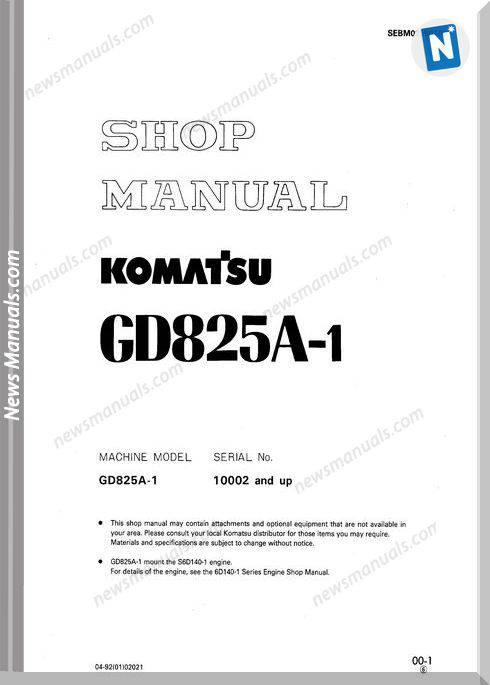 Komatsu Motor Grader Gd825A-1 Shop Manual
