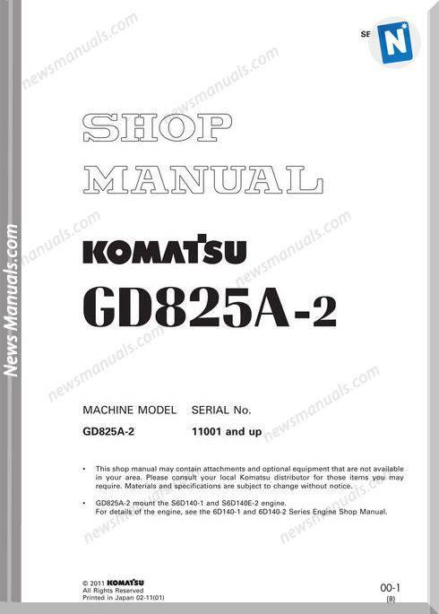 Komatsu Motor Grader Gd825A-2Shop Manual