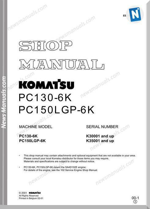 Komatsu Pc130 Pc150Lgp 6K Shop Manual
