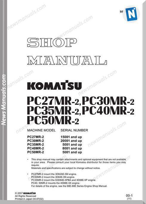 Komatsu Pc27 Pc30 Pc35 Pc40 Pc50 Mr2 Shop Manual