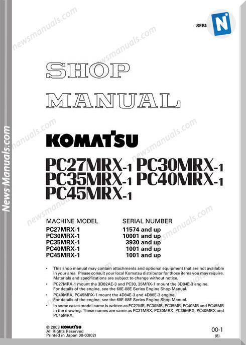 Komatsu Pc27Mrx 1 Pc30Mrx 1 Pc35Mrx 1 Pc40Mrx 1 Pc45Mrx Shop Manual