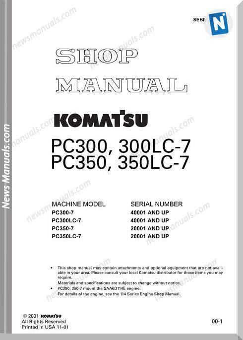 Komatsu Pc300 7 Shop Manual