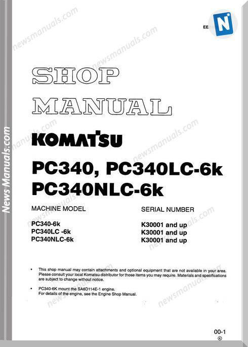 Komatsu Pc340 340Lc 340Nlc 6K Shop Manual