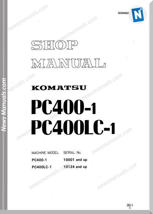 Komatsu Pc400-1 Models Shop Manual