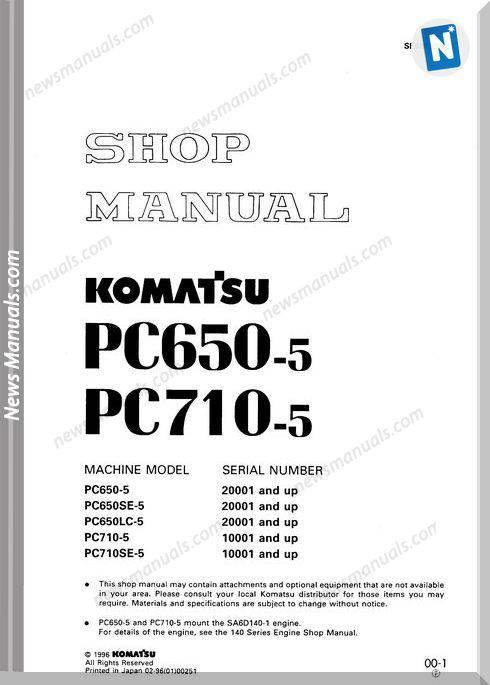 Komatsu Pc650 710Lc 5 Shop Manual