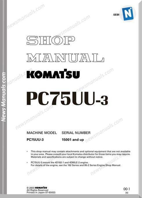 Komatsu Pc75Uu 3 Shop Manual