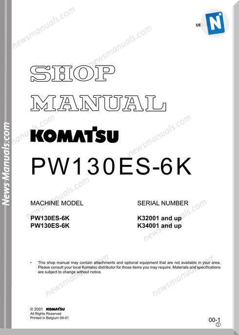 Komatsu Pw130Es 6K Shop Manual