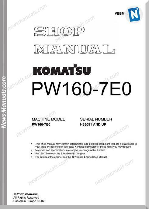 Komatsu Pw160 7E0 Shop Manual