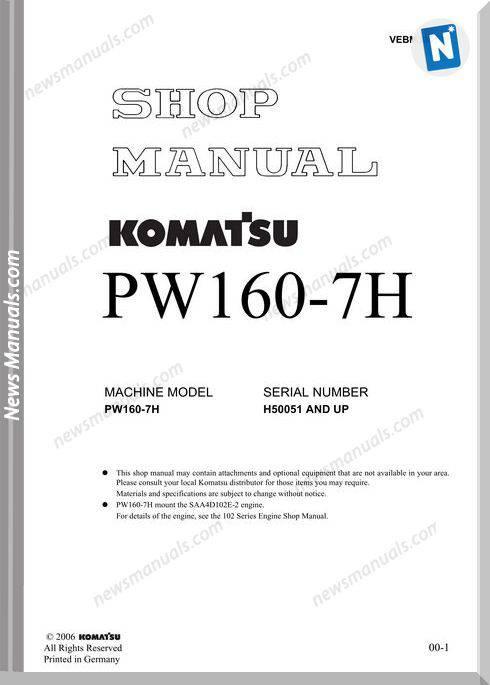 Komatsu Pw160 7H Shop Manual