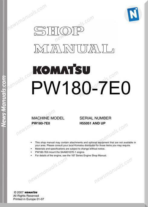 Komatsu Pw180 7E0 Shop Manual
