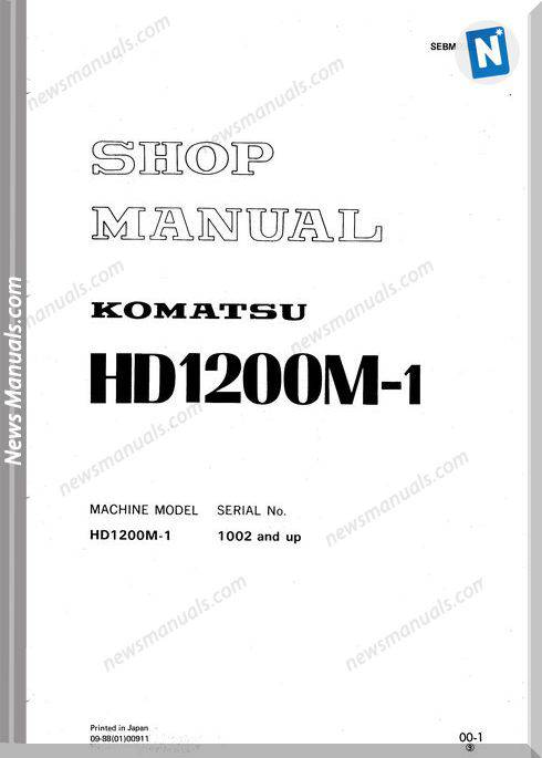 Komatsu Rigid Dump Trucks Hd1200M-1 Shop Manual