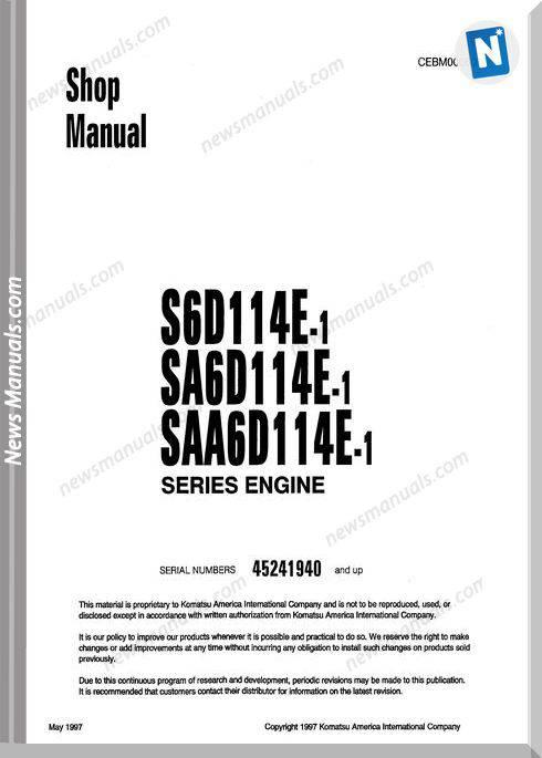 Komatsu S6D114E-1 (Saa6D) Sa6D114E-1 Engine Shop Manual