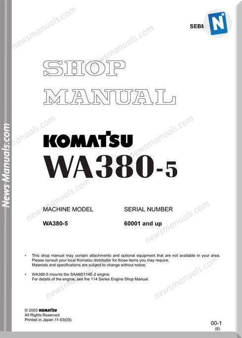 Komatsu Wa380-5 Models Shop Manual