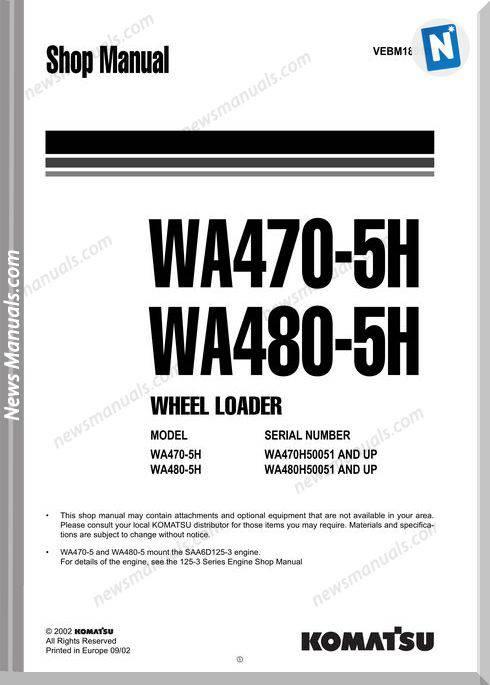 Komatsu Wa470-5H, Wa480-5H Wheel Loader Repair Manual