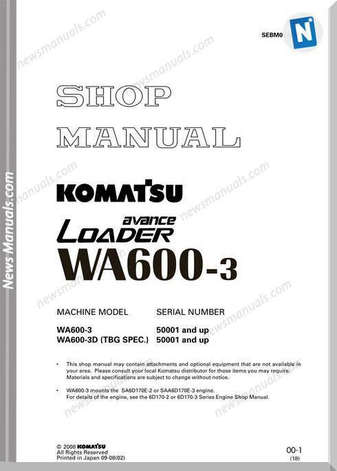 Komatsu Wa600 3 Shop Manual