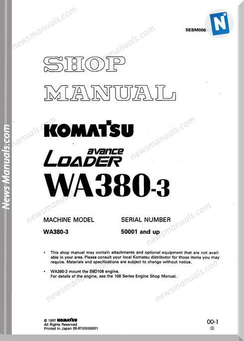 Komatsu Wheel Loader Wa380-3 Shop Manual