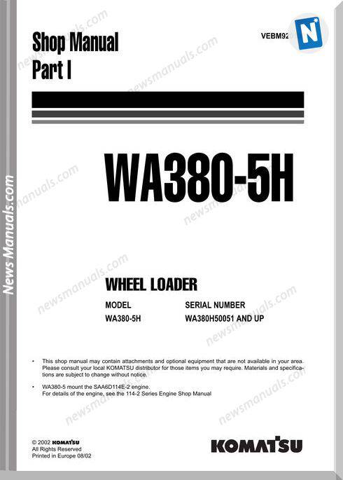 Komatsu Wheel Loader Wa380-5H Shop Manual