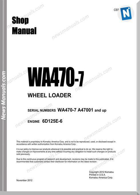 Komatsu Wheel Loader Wa470-7 Shop Manual