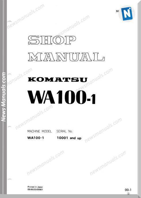 Komatsu Wheel Loaders Wa100-1 Shop Manual